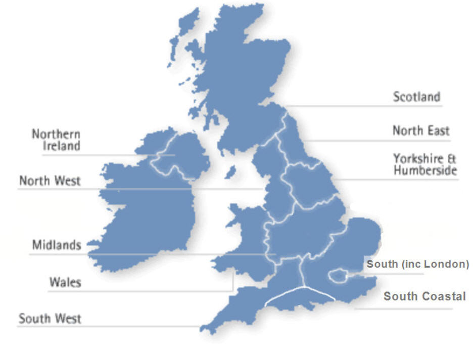 Regional groups uk map scotland wales northern ireland north east yorkshire and humberside north west midlands south publicscrutiny Image collections